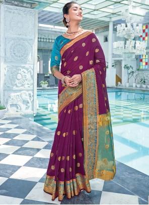 Cotton Weaving Purple Traditional Saree