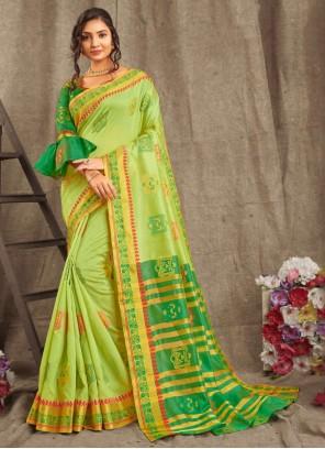 Cotton Weaving Green Trendy Saree