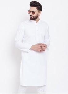 Cotton White Plain Kurta