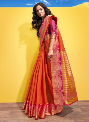 Cotton Woven Orange Traditional Designer Saree