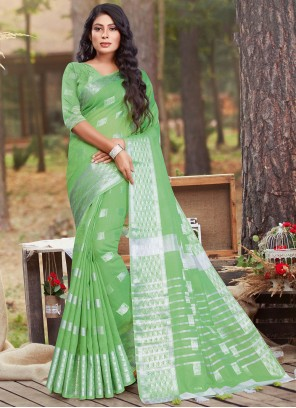 Cotton Woven Traditional Saree in Green