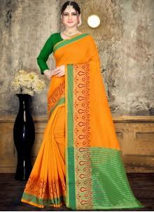 Cotton Woven Yellow Classic Saree