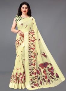 Cotton Yellow Abstract Print Saree