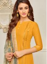 Cotton   Yellow Designer Palazzo Suit