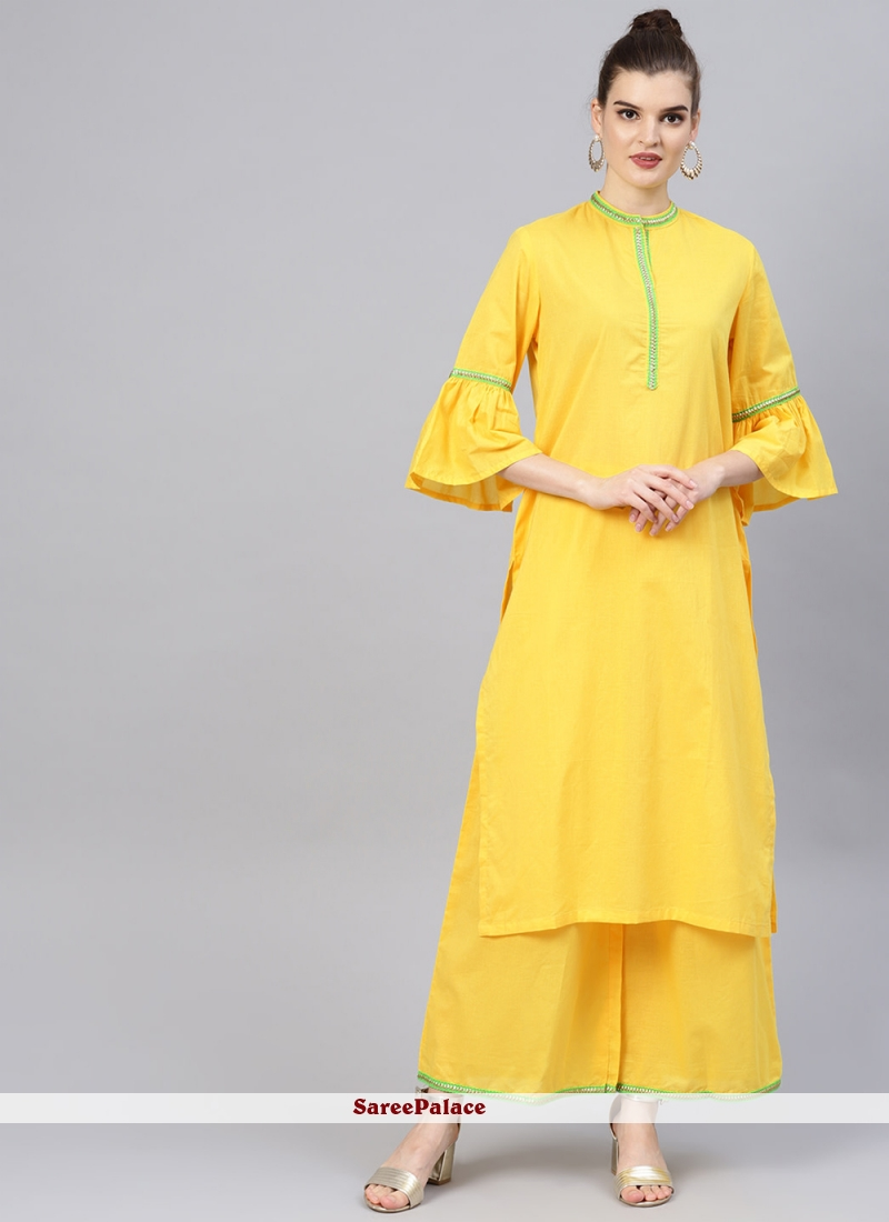 Cotton Yellow Patchwork Designer Kurti