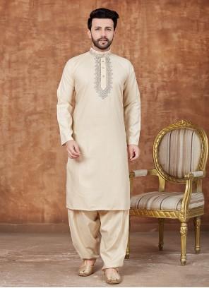 Cotton Yellow Pathani Suits