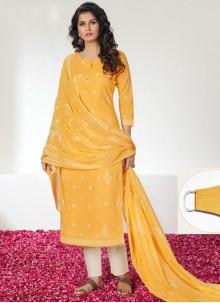 Cotton Yellow Print Designer Straight Salwar Kameez