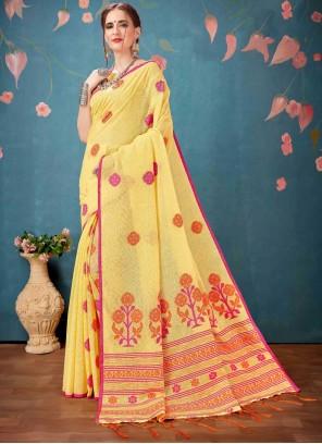 Cotton Yellow Print Printed Saree