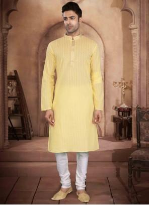 Cotton Yellow Printed Kurta Pyjama