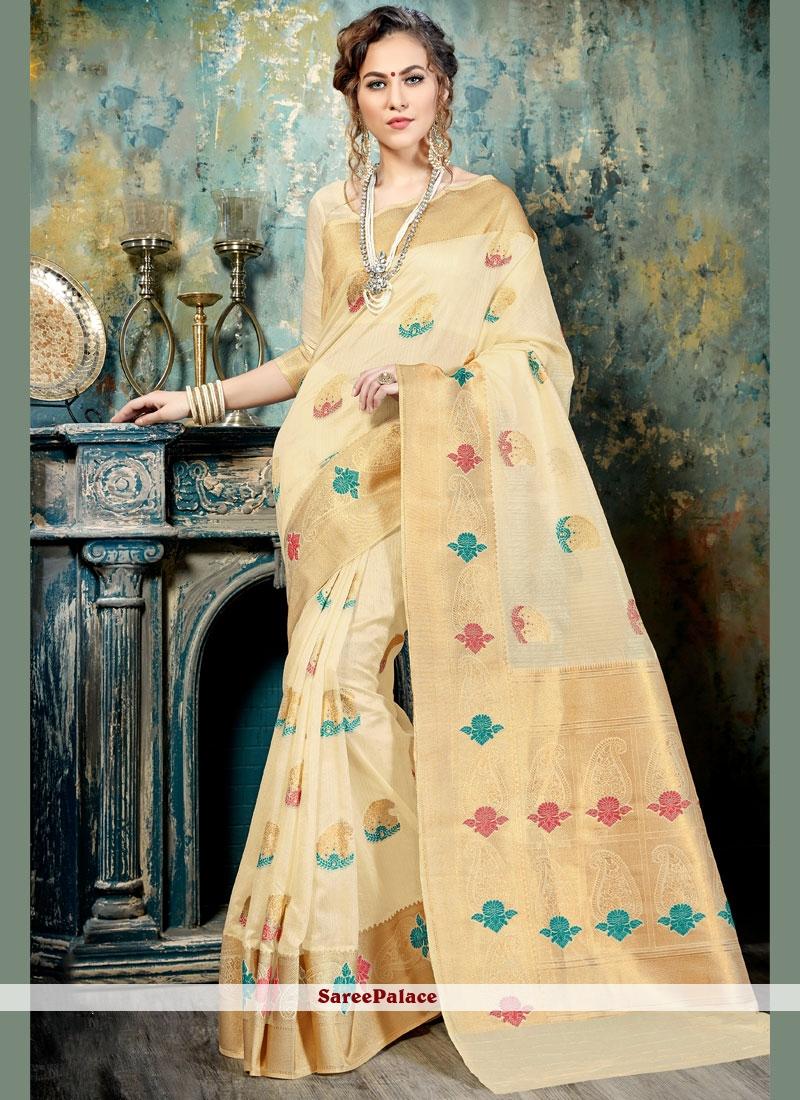 Cream Abstract Print Work Silk Traditional  Saree