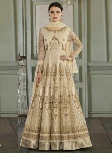 Cream Anarkali Salwar Suit