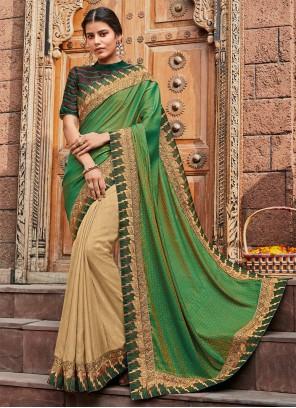Cream and Green Silk Classic Saree