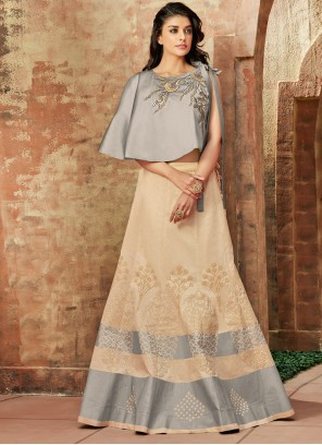Cream and Grey Art Silk Lehenga Choli