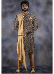Cream and Multi Colour Embroidered Indo Western