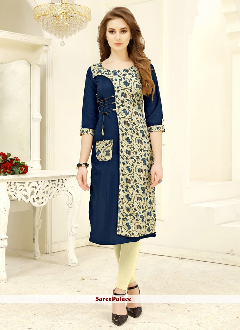 Cream and Navy Blue Party Wear Kurti