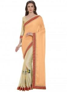 Cream and Peach Embroidered Half N Half  Saree
