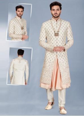 Cream and Peach Mehndi Silk Indo Western Sherwani