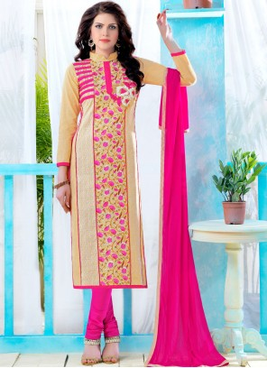 Cream and Pink Casual Churidar Suit