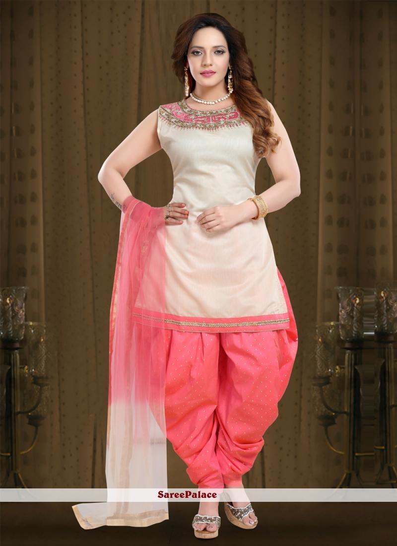 Cream and Pink Chanderi Resham Designer Patiala Suit