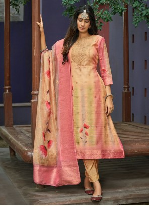 Cream and Pink Digital Print Pant Style Suit