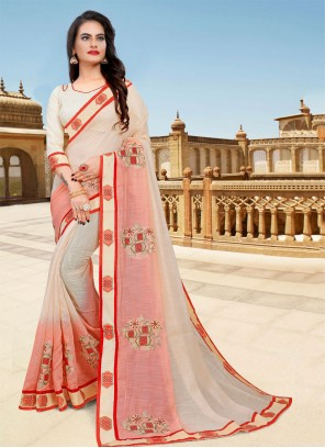 Cream and Pink Embroidered Festival Classic Saree