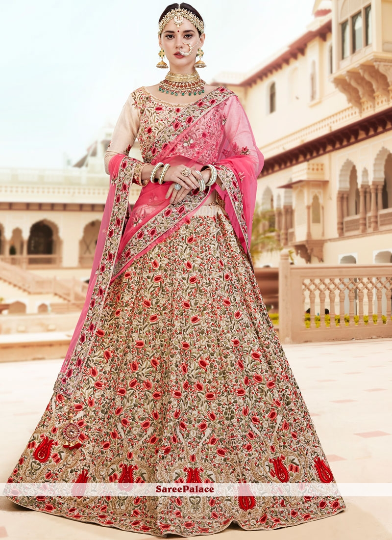 55d9117482 Buy Cream and Pink Embroidered Lehenga Choli Online
