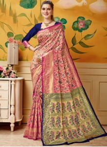 Cream and Pink Jacquard Party Designer Traditional Saree