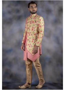 Cream and Pink Reception Jacquard Indo Western