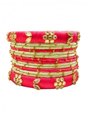 Cream and Pink Stone Work Ceremonial Bangles