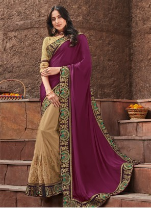 Cream and Purple Silk Embroidered Designer Saree