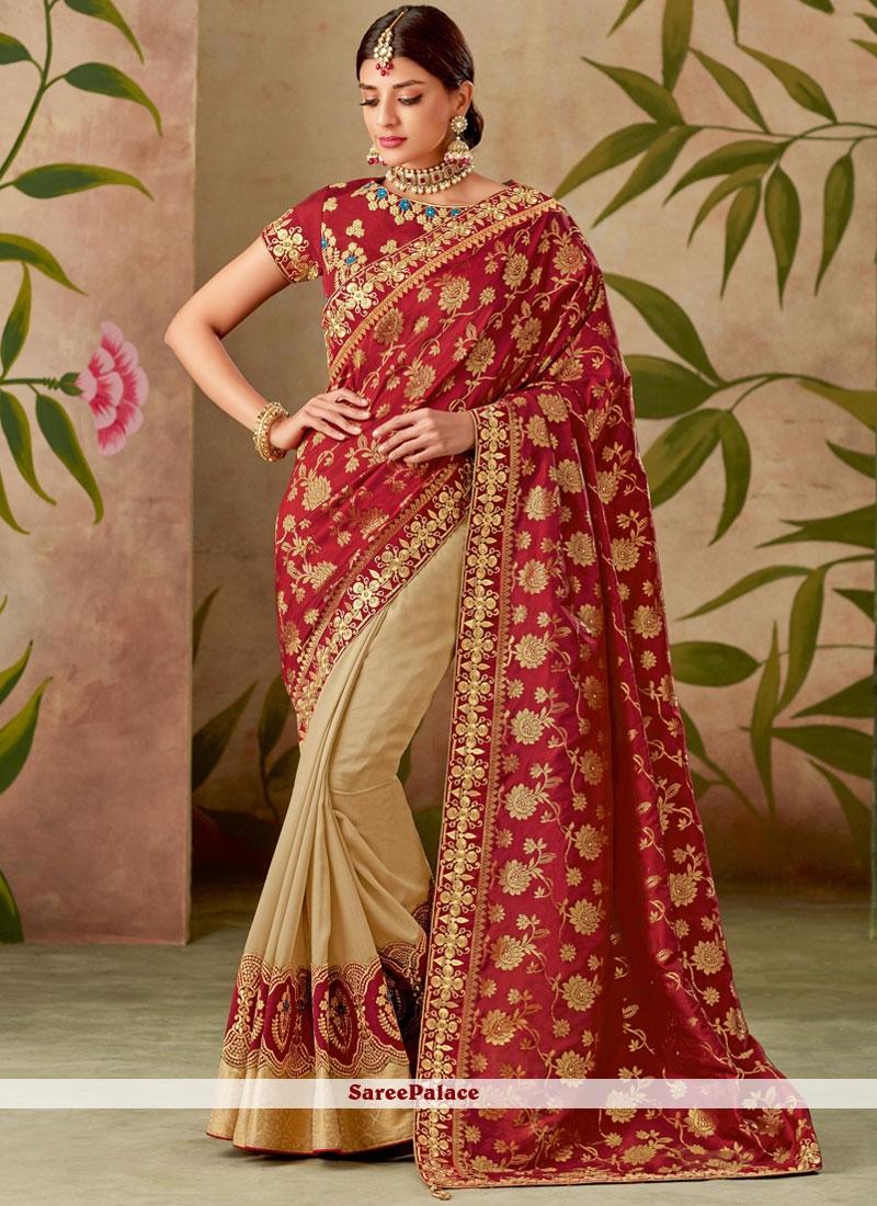 Cream and Red Art Silk Half N Half Designer Saree