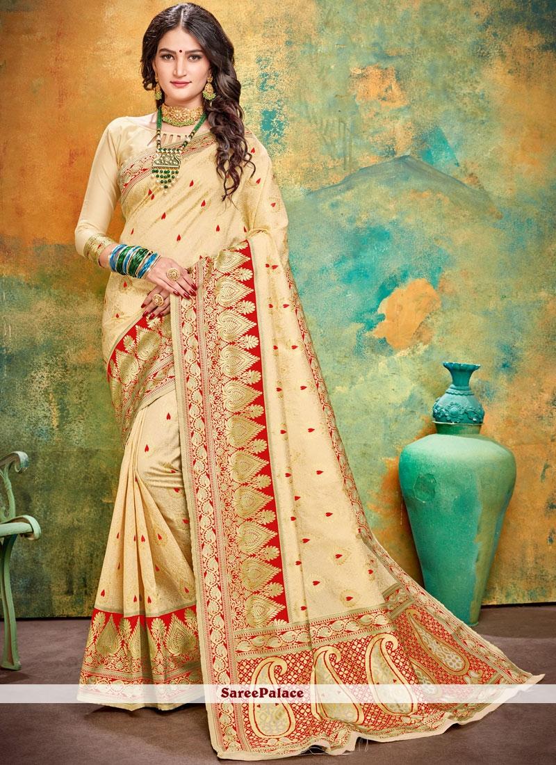 Cream and Red Ceremonial Designer Traditional Saree