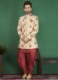 Cream and Red Jacquard Indo Western