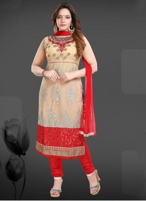 Cream and Red Net Trendy Salwar Suit