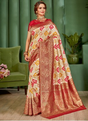 Cream and Red Party Trendy Saree