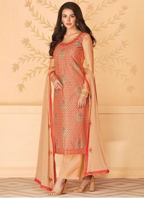 Cream and Red Tussar Silk Wedding Designer Salwar Kameez