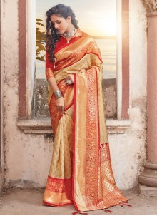 Cream and Red Weaving Silk Designer Traditional Saree