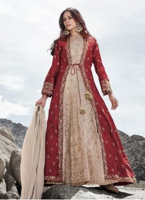 Cream and Red Zari Anarkali Salwar Suit