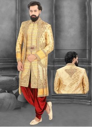 Cream and Yellow Brocade Sherwani
