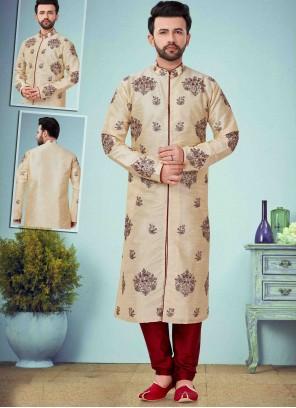 Cream Art Dupion Silk Print Kurta Pyjama
