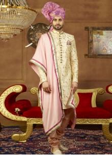 Cream Art Silk Embroidered Sherwani