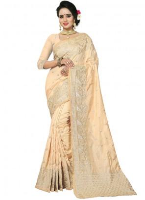 Cream Art Silk Embroidered Traditional Designer Saree