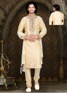 Cream Art Silk Kurta Pyjama with Embroidered
