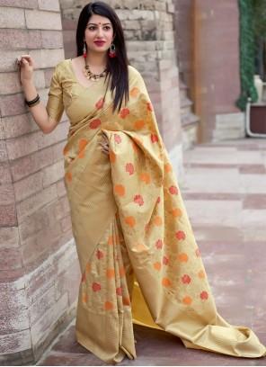 Cream Art Silk Party Traditional Designer Saree