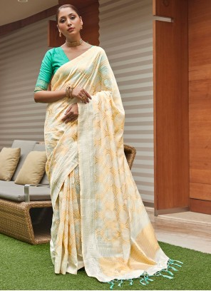Cream Art Silk Weaving Traditional Saree