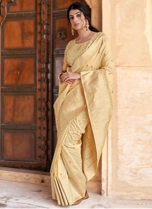 Cream Banarasi Silk Designer Traditional Saree