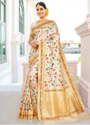 Cream Banarasi Silk Wedding Traditional Saree