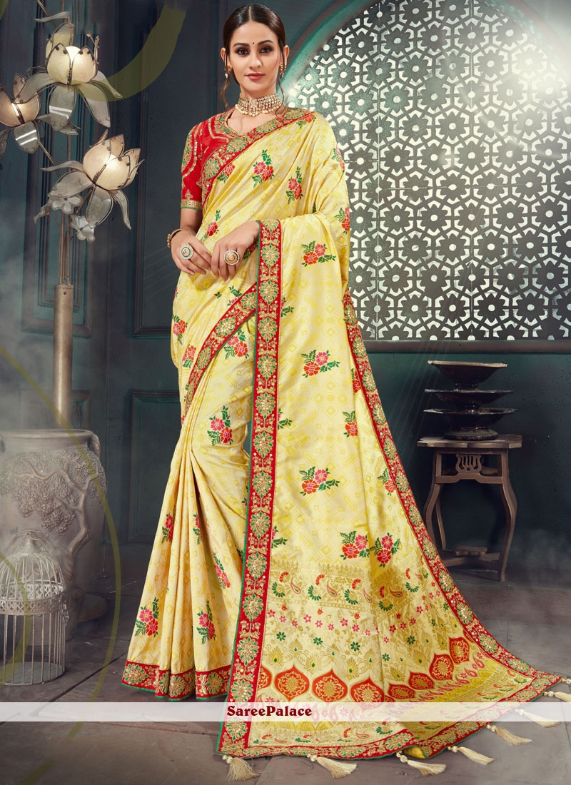 Cream Bhagalpuri Silk Lace Classic Saree