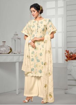 Cream Casual Cotton Designer Palazzo Salwar Suit