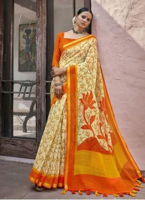 Cream Casual Cotton Printed Saree